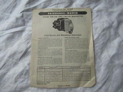 1948 Fairbanks-morse Fm-j4a Fm-j4b Magnetos Instruction Manual