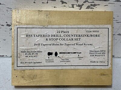 Vintage 22 Piece Hss Tapered Drill Countersinkbore Stop Collar Set.3d8