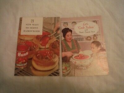 Vintage TWO 1961 Hunts Tomato Sauce Recipes Pamphlet