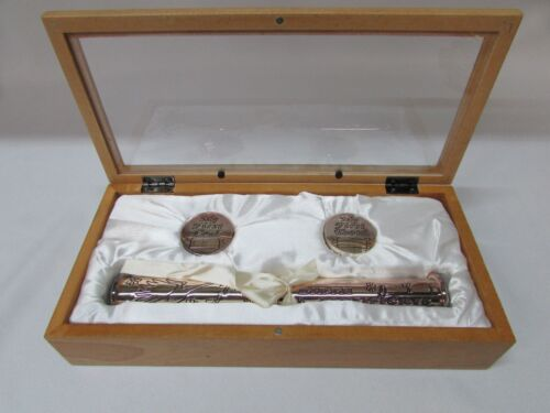 Baby Infant Birth Certificate First Curl First Tooth Keepsake Silver Box Set