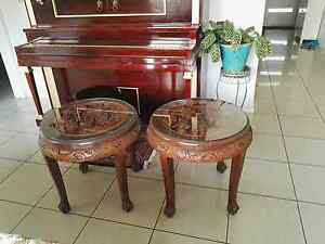 Fabulous vintage pair of hand carved tables with glass top Maidstone Maribyrnong Area Preview