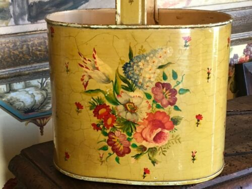 Antique French Hand Painted Yellow Tole Toleware Basket Wine Cutlery