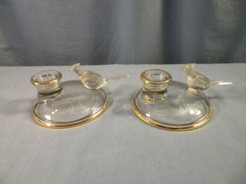 Pair of Jeannette Clear Glass w/ Gold Trim Pheasant Candle Holders