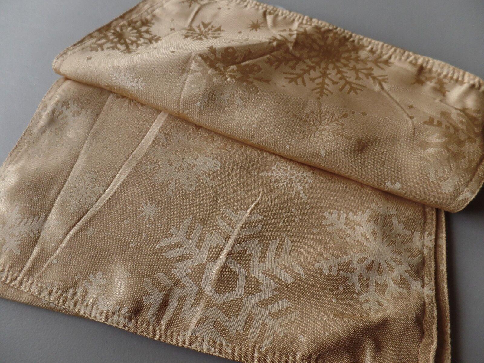 "Benson Mills Gold Textured Snowflake Damask Table Runner 13"""
