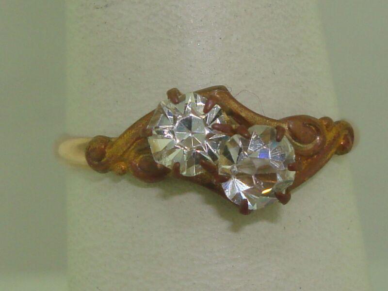 BEAUTIFUL ART NOUVEAU ROSE GOLD FILLED BRILLIANT SPARKLING QUARTZ CRYSTAL RING!
