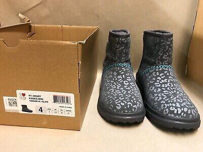 UGG Kids I Heart Ugg Mini Short Boots Girls Gray Leopard Print Size 4 - 1006208