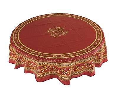 """Provencal 100% Coated Cotton Tablecloth Marat Avignon Flowers Red Round 71"""" FR"""