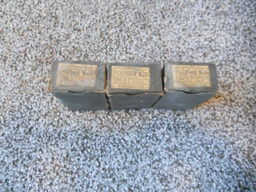 LOT of 3 Boxes Interstate Iron & Steel Company Clout Nails No. 1 IOB