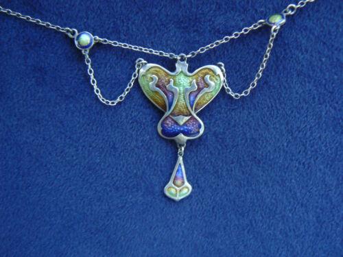 """Antique 19"""" Art Nouveau Enamel Sterling Silver Necklace Marked Jungstil?"""
