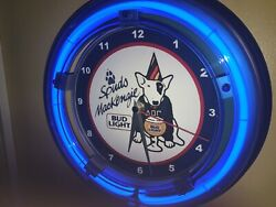 Bud Light SpudsMackenzie Beer Bar Man Cave Advertising Blue Neon Wall Clock Sign