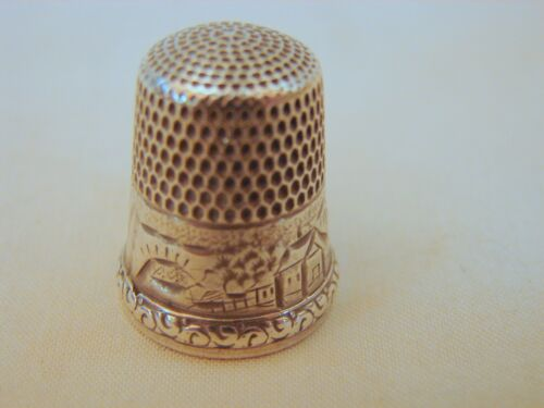 Simons Bros. Sterling Silver No. 9 Sewing Thimble, Scenic Buildings, Excellent C