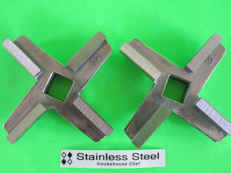 *TWO #32 size COMMERCIAL Knives Blades for  Meat Grinders Hobart Biro Berkel etc