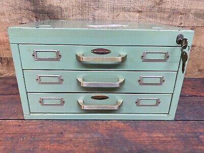 Neumade 3 Drawer 35 Mm Slide Storage File Cabinet 12x9x15.5 With Keys Vintage