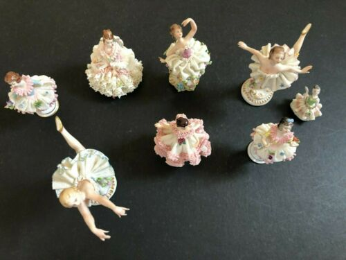 Antique Porcelain Figurine Ballerina White Pink Lace Ruffles Lot Ballet Vintage