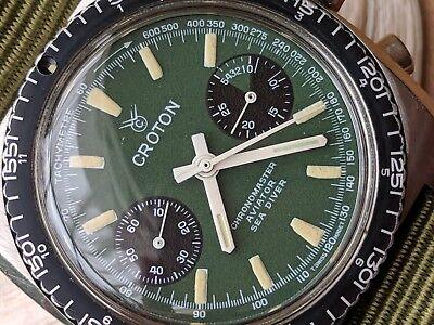 Vintage Croton Chronomaster Aviator Sea Diver Chronograph w/Green Dial,Patina
