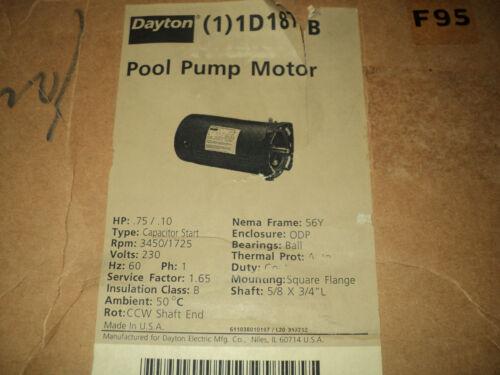 DAYTON 1D187 3/4, 1/10 HP Square Flange Pool Pump Motor, 3450/1725 RPM , 56YZ FR