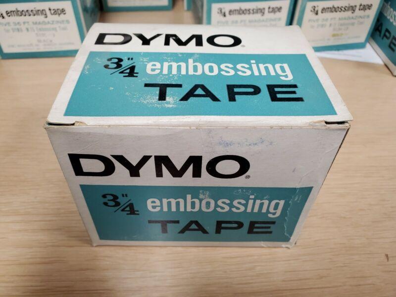 "Box of 5- DYMO Embossing Tape Magazine BLACK 3/4"" x 36"