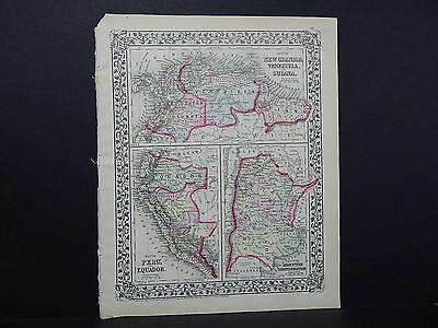 1874 Mitchell' New General Atlas  New Granada, Venezuela, Guiana R7#24