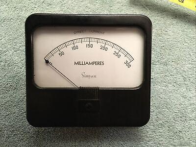 Vintage Radio Panel Meter Simpson Dc Milliamperes 0-300 Me10