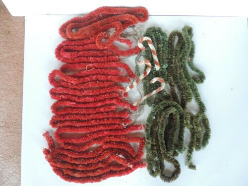 22 strands Old Christmas Garland chenille total green red feather tree roping