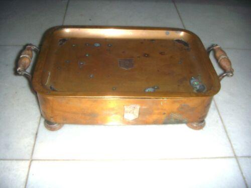 ANTIQUE Copper food warmer - rectangular - silver monogram