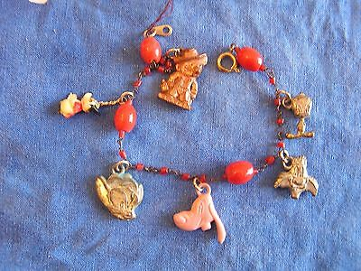 Old Cartoon Costumes (CARTOON CHARACTERS CHARM BRACELET OLD 1920'S CELLULOID AND 40'S PLASTIC)