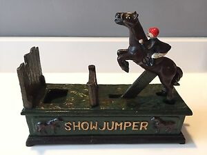 Antique Cast Iron Bank - Show Jumper Horse Coin Bank