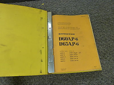 Komatsu D65a 6 D65p 6 Crawler Tractor Dozer Shop Service Repair Manual