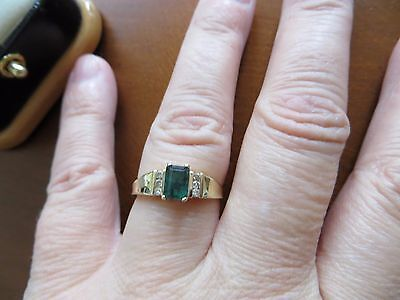 Vintage  Emerald  Cut Green TOURMALINE & DIAMOND Ring 14K Yellow Gold Size 7