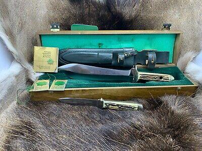 1992 Puma Waidbesteck Knife Set Stag Handles & Sheath In Presentation Box & Tags