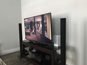 TV, TV stand, Samsung System with 5 speakers