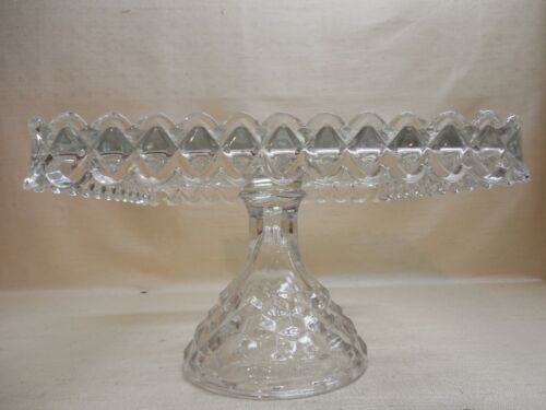 Vintage American Fostoria Square Footed Cake Stand