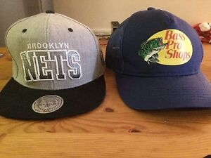 Brooklyn Nets flat hat & Blue Bass Pro hat