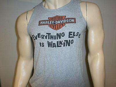 vtg HARLEY DAVIDSON MOTORCYCLES TANK TOP Shirt RAYON Everything Else Is Walking