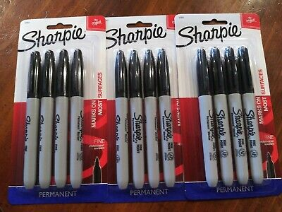 Lot Of 3 - Sharpie Permanent Markers Fine - 4 Pack
