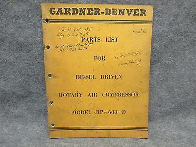 Gardner-denver 1960 Parts List Diesel Rotary Air Compressor Model Rp-600-d 24874