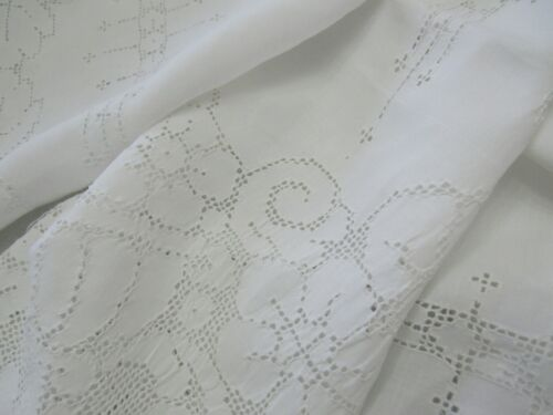"""Large Antique Italian Mosaic Tablecloth 68x101"""" WHITE Hand Embroidered Bridal"""
