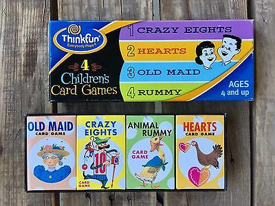 Think fun 4 Children's Card Games Old Maid, Animal Rummy, Hearts, & Crazy Eights