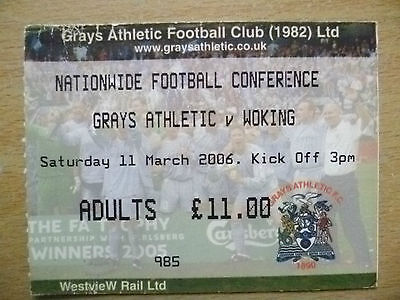 Tickets: Nationwide Football Conference- GRAYS ATHLETIC v WORKING, 11 March 2006