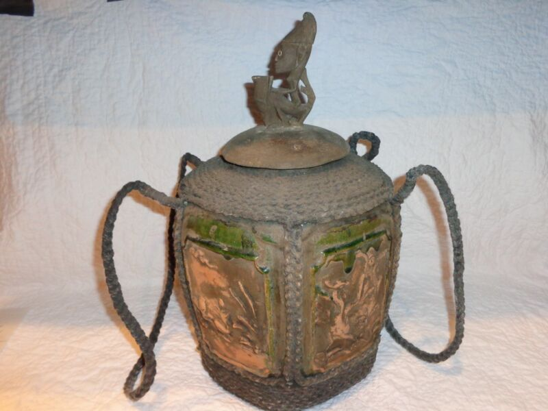 Antique or Vintage Asian/African Pottery Storage Vessel/Jar with Rope Wrapping