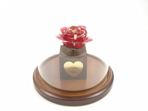 Enchanted 24k Gold Dipped Red Rose Bloom Christmas Gift