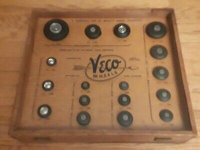 Vintage Veco Wheel Display case Model RC air plane Car Rubber Tires scale kit2 3, used for sale  Bristol