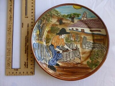 c.20th - Vintage Portugese Hand Painted Farmer Ceramic Pottery Charger Plate
