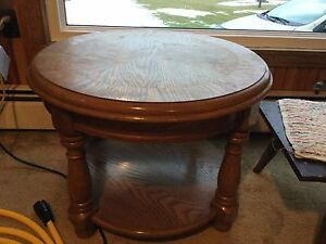 Solid wood table 27 inches across round, 19.5 inches high