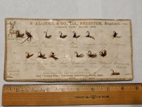 ANTIQUE FISHING FLY LURES S. ALLCOCK & CO. GRAND PRIX MILAN 1906 PARIS DISPLAY