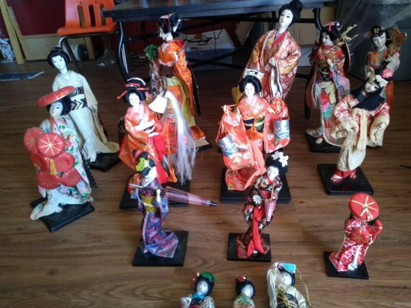 15 Vintage Japanese Geisha Dolls