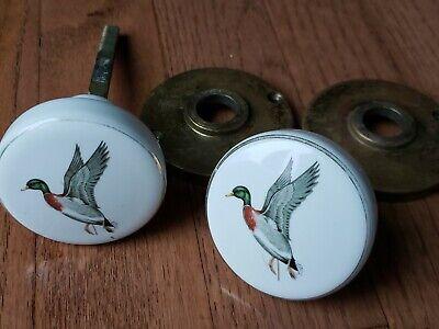 Vintage Porcelain Painted Mallard Duck White Door Knobs Gold Trim Lot 2 Hardware