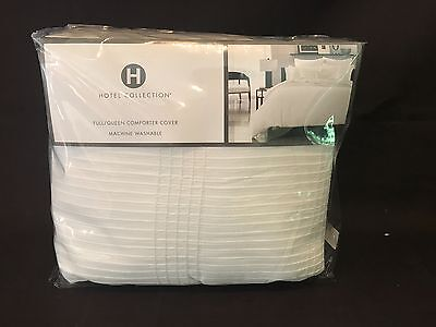 Hotel Collection PLEATED STRIPE Full/Queen Duvet/Comforter Cover White Cotton Stripe Comforter Cover