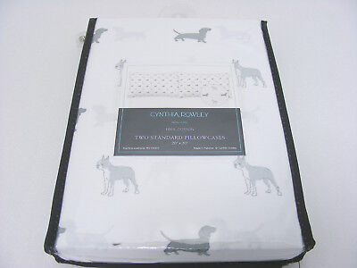Cynthia Rowley Daschund Dogs & Boston Terrier Bulldogs 20x30in Pillowcases NEW !
