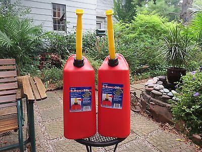 Set Of 2 - New Vented Scepter 5.3 Gallon Plastic Jerry Gas Can Spout Spout Cap